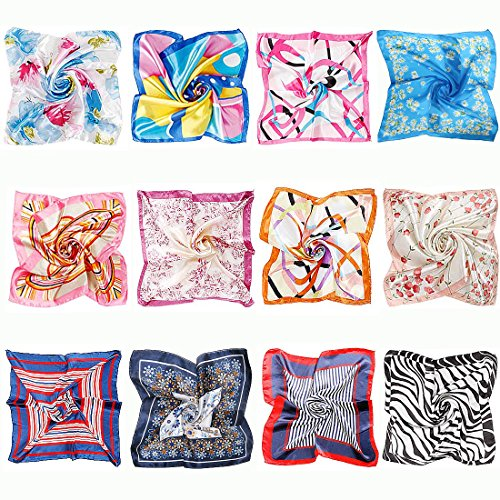 - BMC 12pc Women's Silky Scarf Square Mixed Patterns & Colors Fashion Accessory Set - Floral Fun Pack