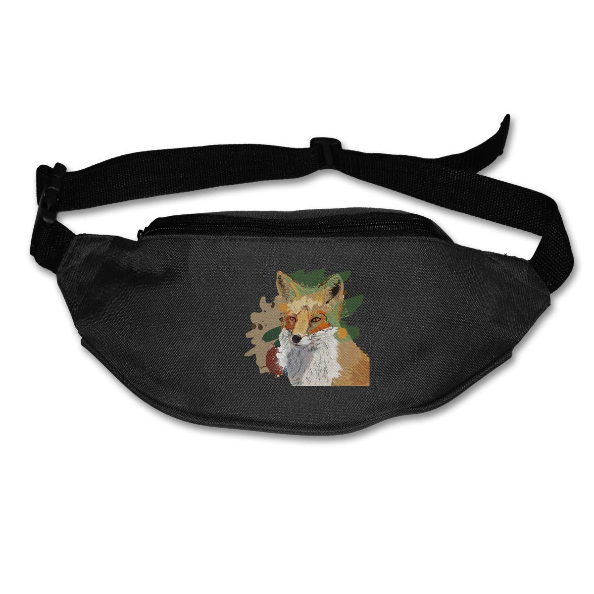 Waist Purse Cute Fox Dog Painting Unisex Outdoor Sports Pouch Fitness Runners Waist Bags
