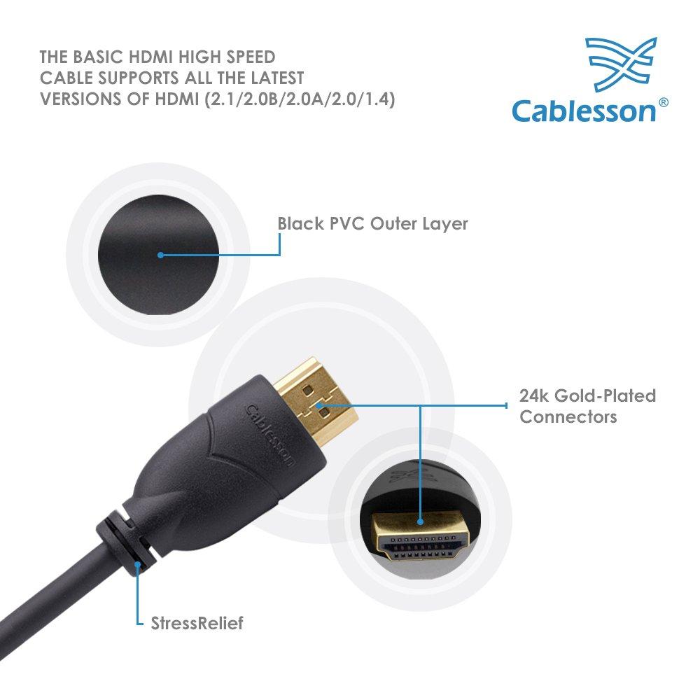 Cablesson básico 1.5m cable HDMI de alta velocidad (HDMI Tipo A, HDMI 2.1 / 2.0b / 2.0a / 2.0 / 1.4): Amazon.es: Electrónica