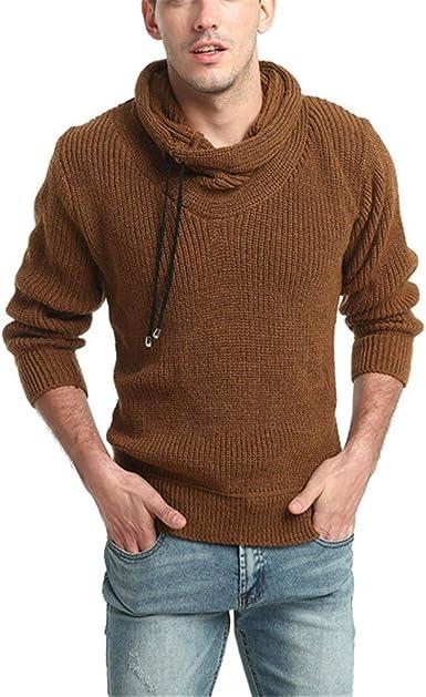 SXZG Otoño E Invierno Nuevos Hombres De Color Sólido Suéter De Cuello Alto De Lana Gruesa Suéter Grueso Elástico Ropa De Hombre: Amazon.es: Ropa y accesorios