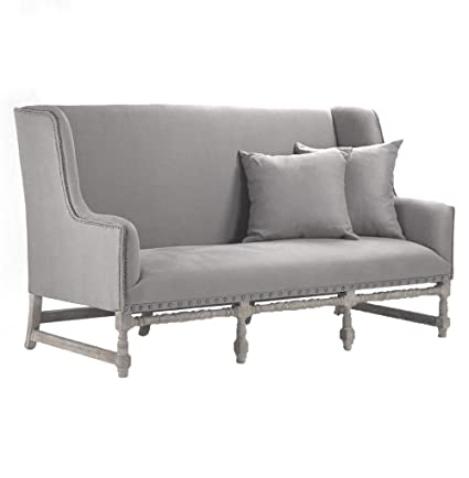 Kathy Kuo Home Ausbert French Country Grey Linen Dining Bench Sofa