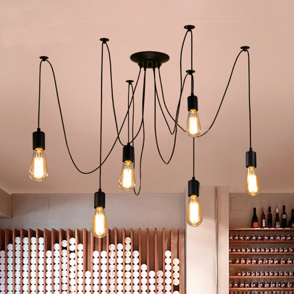 Each with 1.7m Wire Ajustable DIY Ceiling Spider Light E27 Industrial Hanging Light Dining Hall Bedroom Hotel Decoration ZHMA Classic Spider pendent Lamps 6 Arms Rustic Chandelier