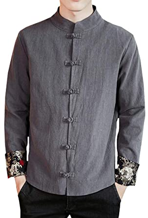 511259521 YYG Men Linen Mandarin Collar Button Down Splicing Chinese Style Coat Jacket  at Amazon Men's Clothing store: