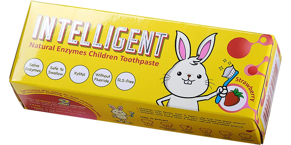 Intelligent Natural Saliva-Enzymes Kids Toothpaste Fluoride Free No SLS No Mint, Anti-Plaque and Tartar Remover, Travel Size, 1.37 Ounce, 2 Count (Strawberry Flavor)