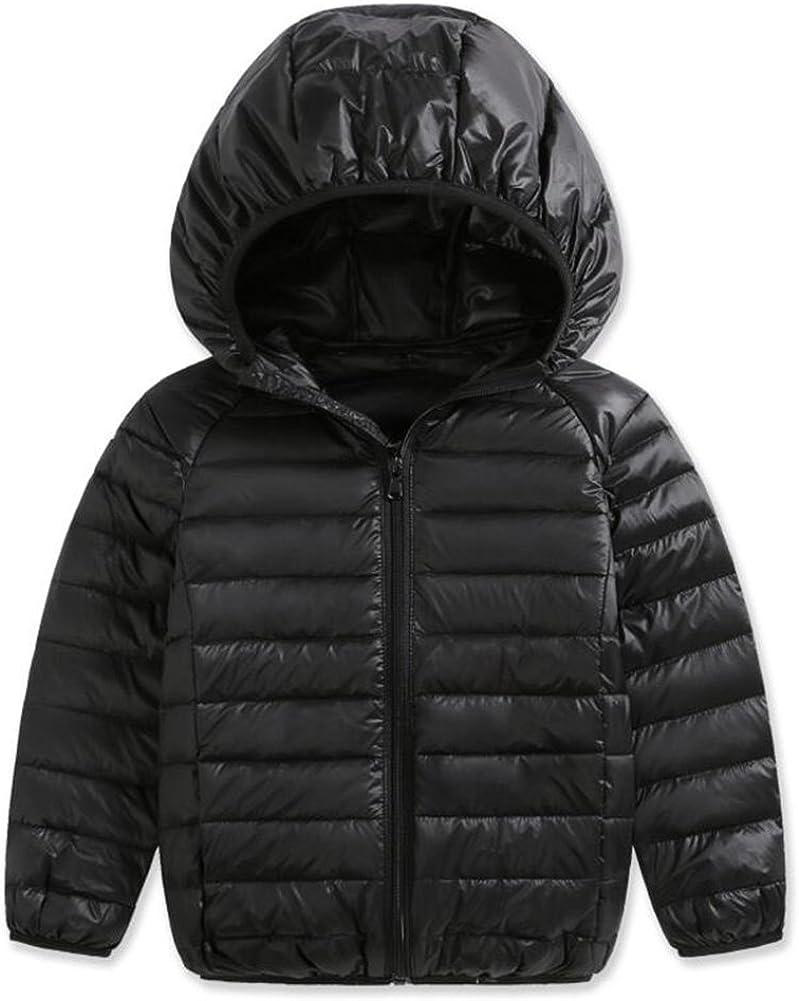 OBEEII Kids Girls Winter Coats with Hoods Polka Dot Print Warm Windproof Trench Jacket Outwear Padded Overcoat