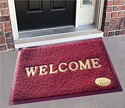 Yellow Weavestm Dust Remover Pvc Welcome Doormat For Offices,Hotel ,Restaurant, Home,Shop -Color- Maroon, Size : 38.1 Cm X 58.4 Cm