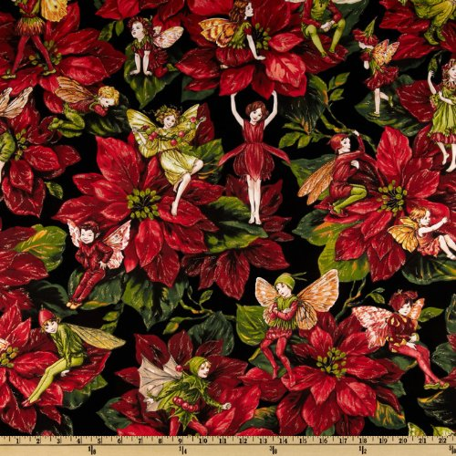 Michael Miller Christmas Flower Fairies Red Fabric By The (Christmas Fabric)