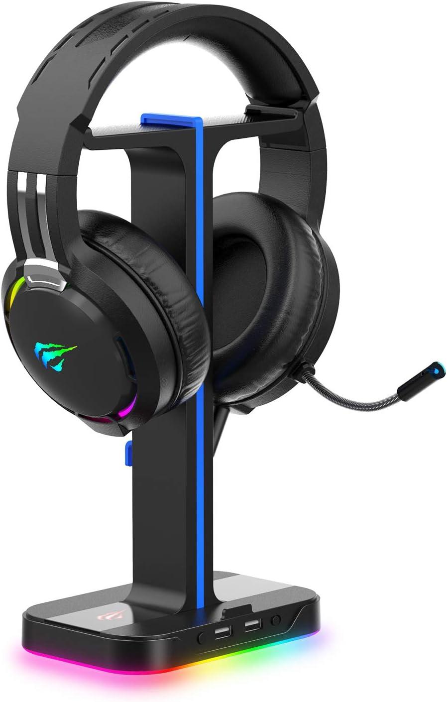 havit Auriculares Gaming PS4 y Soporte para Auriculares Doble con Cable RGB, Soporte Cascos con 2 Cables de extensión de Puerto de Carga de expansión USB 2.0,Cascos Gaming,Negro