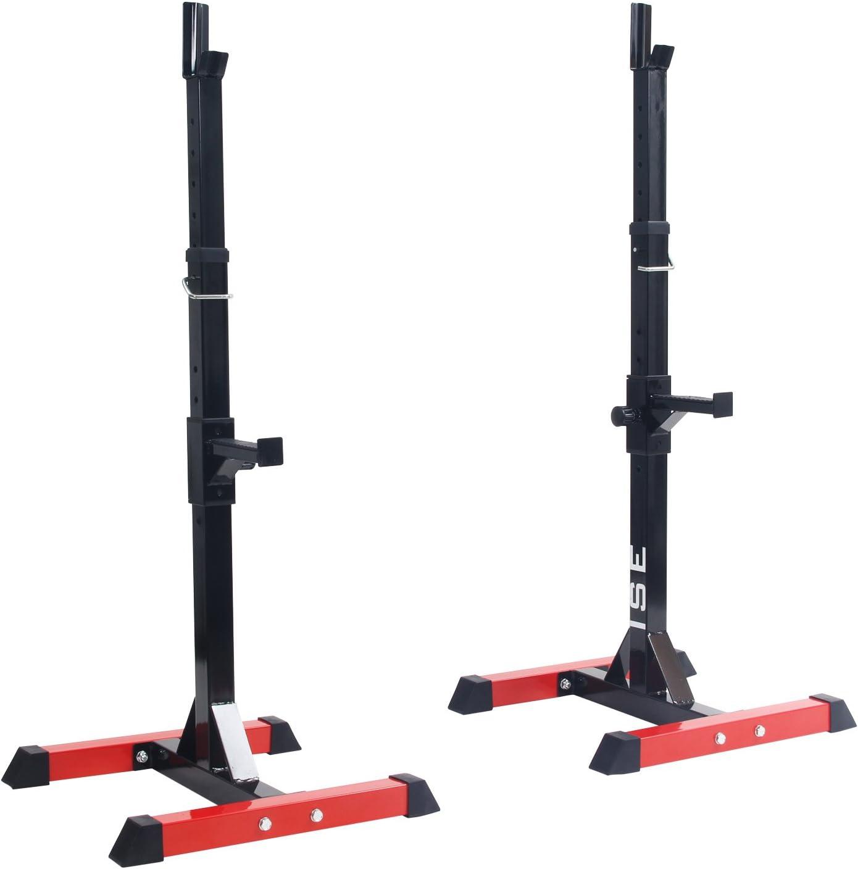 ISE Estante de Barra con Pesas Ajustable para Barbell, Squat Rack Stand Gym para Fitness, Soporte de Levantamiento Gimnasio para Banco de Peso, Máx 200kg, SY-RK1001