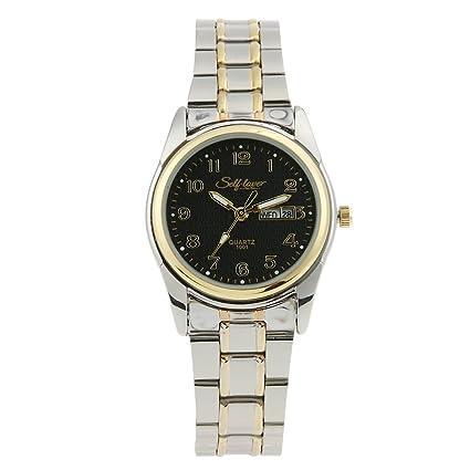 UNIhappy Reloj Digital Unisex, Chapado en Oro Negro, Dorado, con Tiras de Aleación