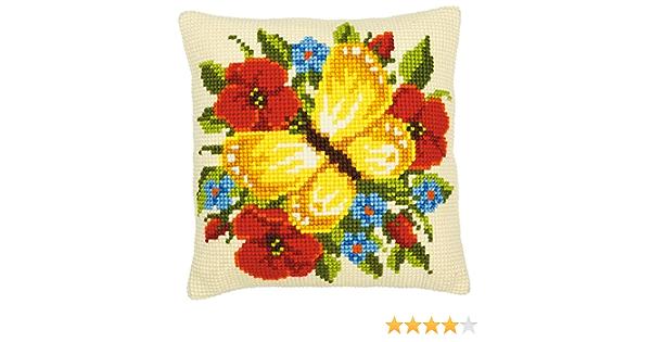 Vervaco Estampado Cross Stitch Kit hágalo usted mismo Cojín Flores,