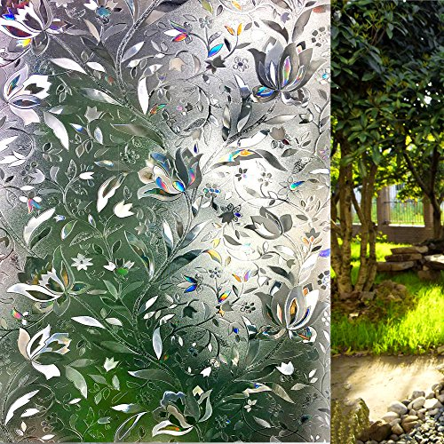 LEMON CLOUD Decorative Window Film Privacy Film No Glue Static Cling Glass Door Film 3D Tulip Window Cling for Home Office(35.4in. by 157.4in)