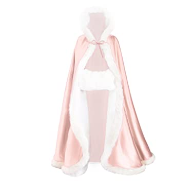 Wedding Cape Hooded Cloak for Bride Winter Reversible with Fur Trim Free Hand Muff Full Length 50 55 inches (19 Colors)