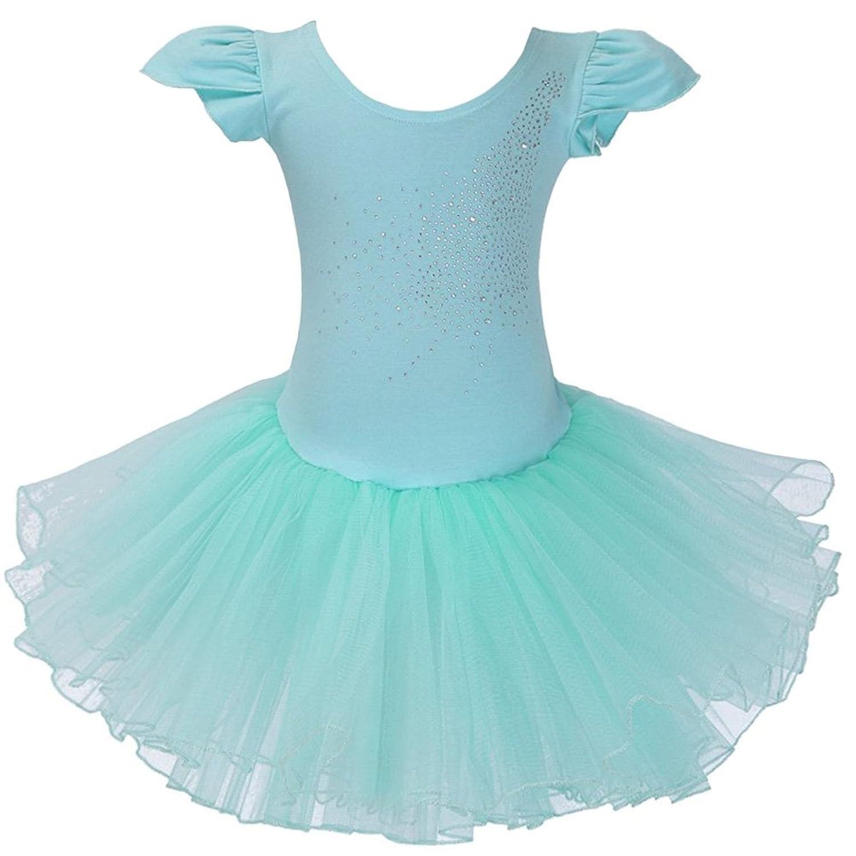 XTS Little Girls' Rhinestone Ornament Tiered Ballet Tutu Dress Party Dancewear
