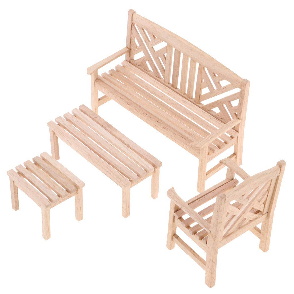 Wood Color 1//12 Dollhouse Miniature Furniture Garden Decor Bench Chair Table