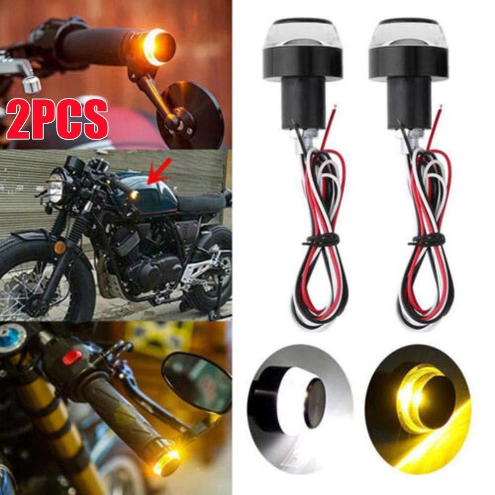 2 piezas Indicadores de motocicleta Motocicleta LED Luces indicadoras de se/ñal de giro Manillar Intermitente de extremo 12V Universal para motocicletas de manillar de 22 mm bicicletas el/éctricas