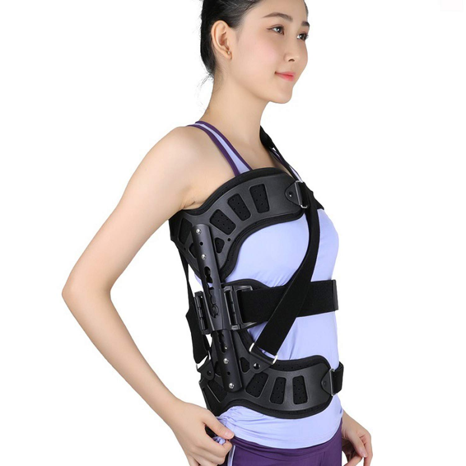 Scoliosis Posture Corrector Adjustable Spinal Auxiliary for Back Recovery Men and Women Adults,Black,Medium