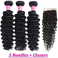 "Brazilian Deep Curly Hair with Closure 8A Unprocessed Virgin Human Hair Deep Weave 3 Bundles with Free Part Closure Natural Color(10 12 14+8"" closure)"