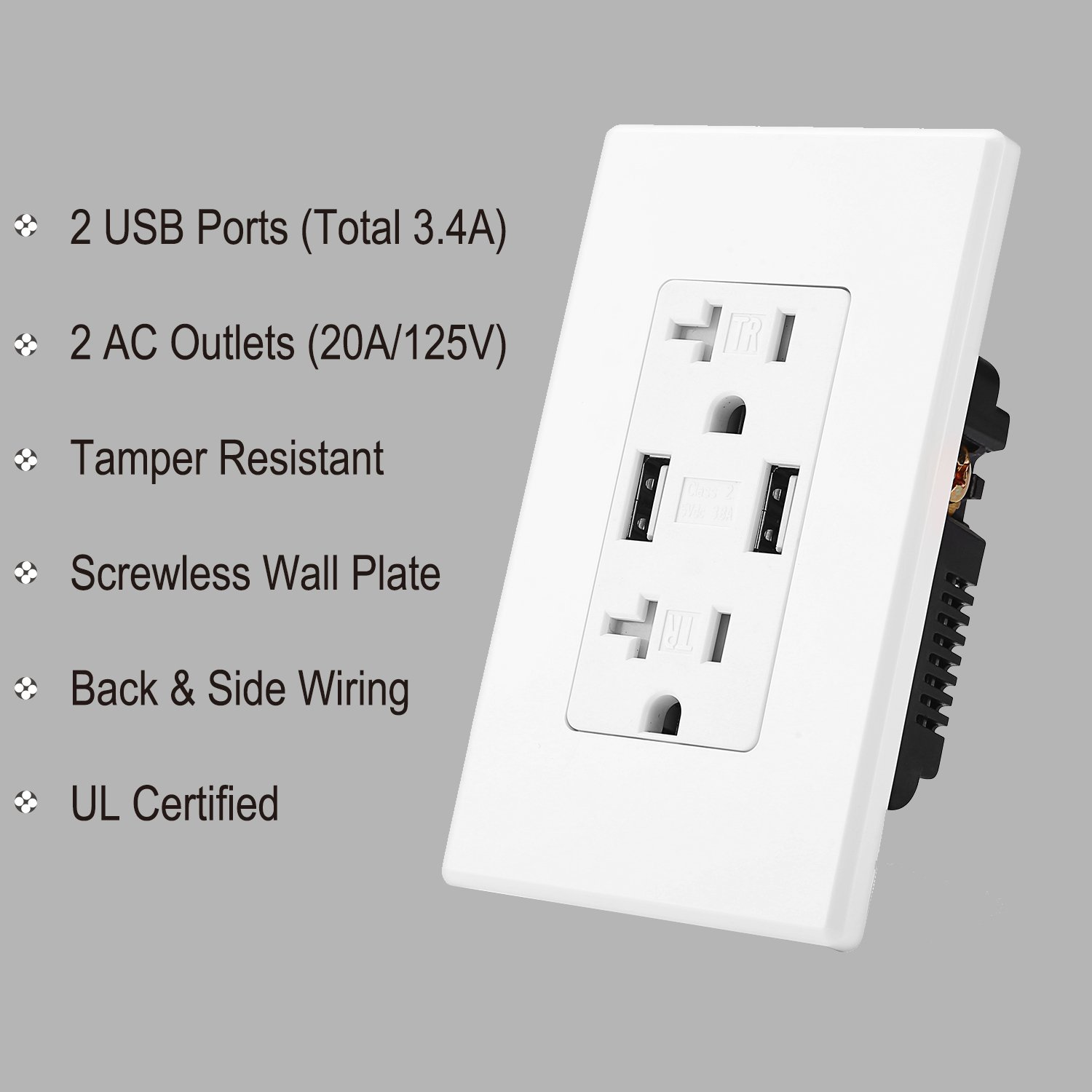 Amazon.com: BESTTEN 20A In-Wall Outlet with 2 USB Chargers (3.1A ...