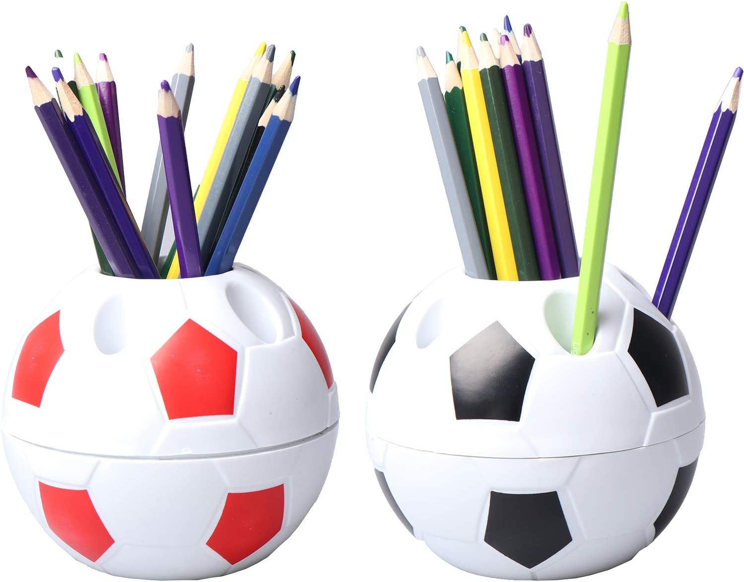 WONDS 2Pcs Pen Pencil Holder Plastic Desktop Organizer Container with Soccer Style for Children Students Soccer Shaped Holder Football Style Pen Holder Desktop Rack for Office Home Use