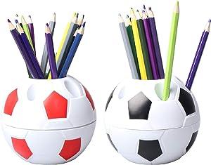 WONDS 2Pcs Pen Pencil Holder Plastic Desktop Organizer Container with Soccer Style for Children Students Soccer Shaped Holder Football Style Pen Holder Desktop Rack for Office Home Use