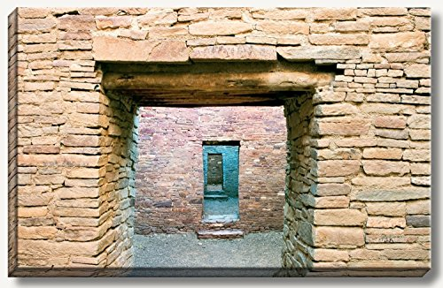 16 x 24 inch gallery wrapped canvas of ancient stone walls and doors ruins at Chaco Canyon, New Mexico. by Bob Estrin Fine Art Photography