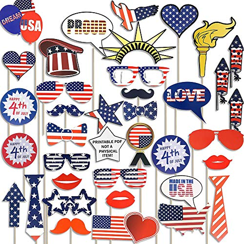4th of July American Independence Day Photo Booth Props - 39 Pcs Patriotic Party Decorations-American Independence Day Funny Party Favor Supplies]()