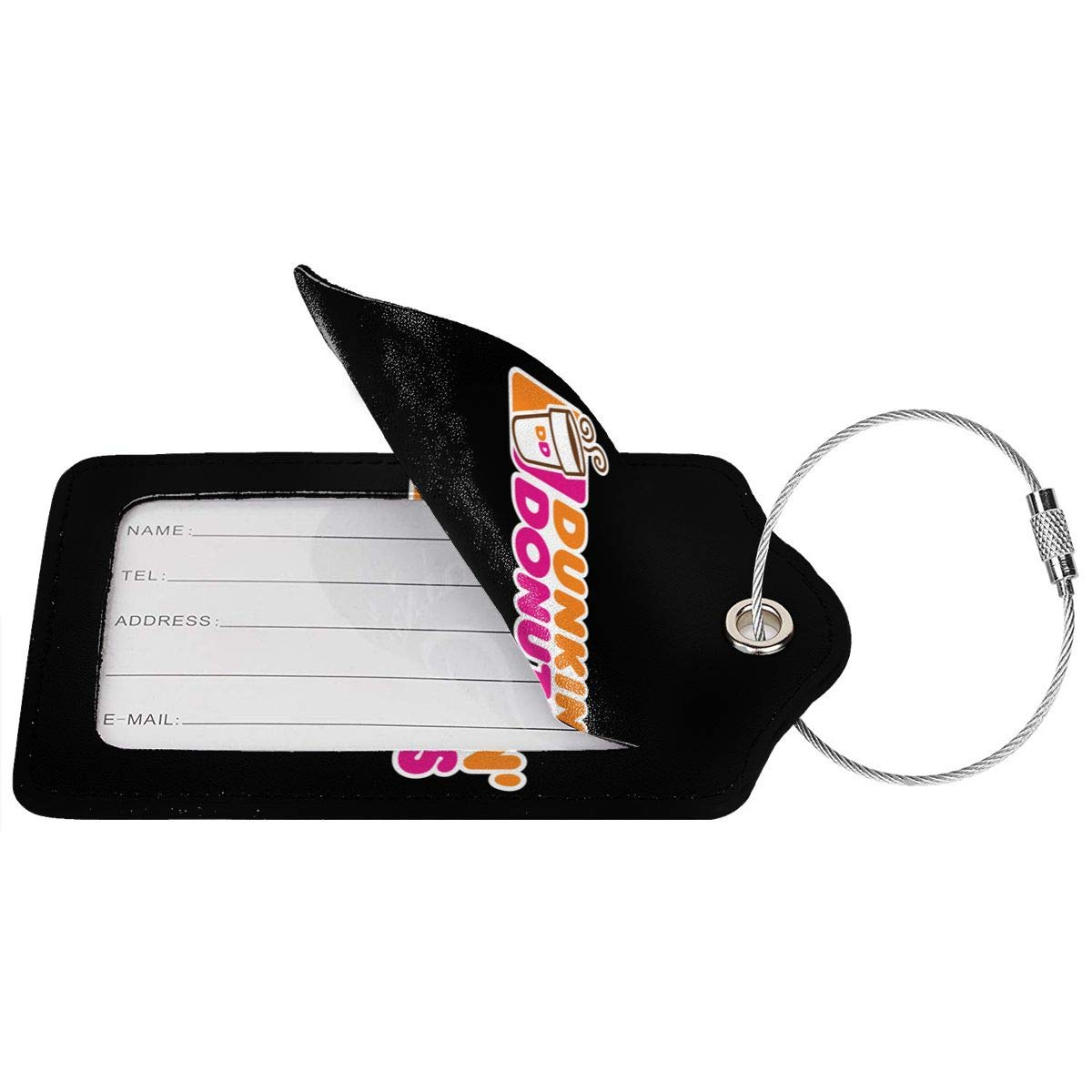 Dunkin Donuts Logo Leather Luggage Tag Travel ID Label For Baggage Suitcase