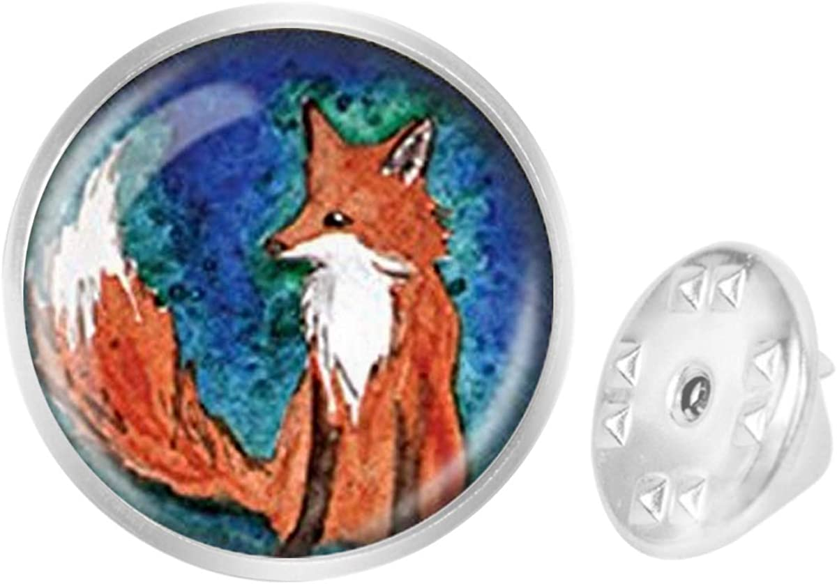 WAZZIT Round Metal Tie Tack Hat Lapel Pin Brooches Fox Animal Banquet Badge Enamel Pins Trendy Accessory Jacket T-Shirt