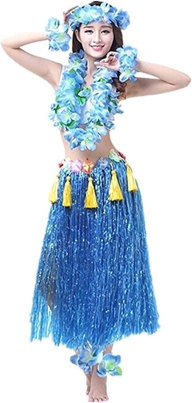 Prettycos Hawaiano Hula Vestido Falda Hierba Guirnaldas de Flores ...