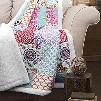 "Lush Decor Brookdale Sherpa Throw Blanket, 60 x 50"", Purple/Turquoise"