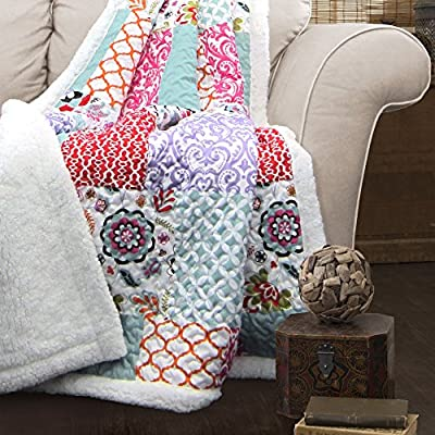 """Lush Decor Brookdale Reversible Throw-Colorful Floral Pattern Patchwork Blanket-60 x 50"""", 60 x 50, Purple/Turquoise - Soft, 100% polyester fabric reversible sherpa throw measures 60"""" x 50"""". Lush Décor Brookdale throw is the ideal piece for your cottage or bohemian style decor. Bright, colorful and unique design with floral and geometric patchwork patterns for a mix of modern and boho style. - blankets-throws, bedroom-sheets-comforters, bedroom - 616vRwj8cSL. SS400  -"""