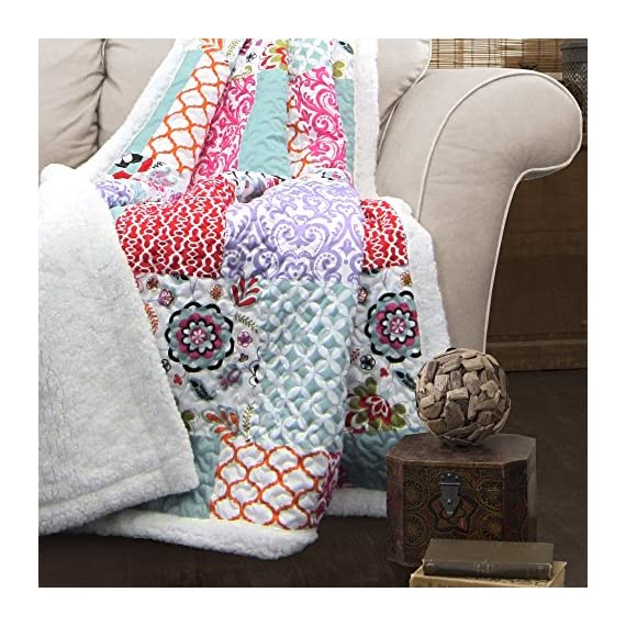 """Lush Decor, Purple and Turquoise Brookdale Reversible Throw-Colorful Floral Pattern Patchwork Blanket-60 x 50"""", 60 x 50 - Soft, 100% polyester fabric reversible sherpa throw measures 60"""" x 50"""". Lush Décor Brookdale throw is the ideal piece for your cottage or bohemian style decor. Bright, colorful and unique design with floral and geometric patchwork patterns for a mix of modern and boho style. - blankets-throws, bedroom-sheets-comforters, bedroom - 616vRwj8cSL. SS570  -"""