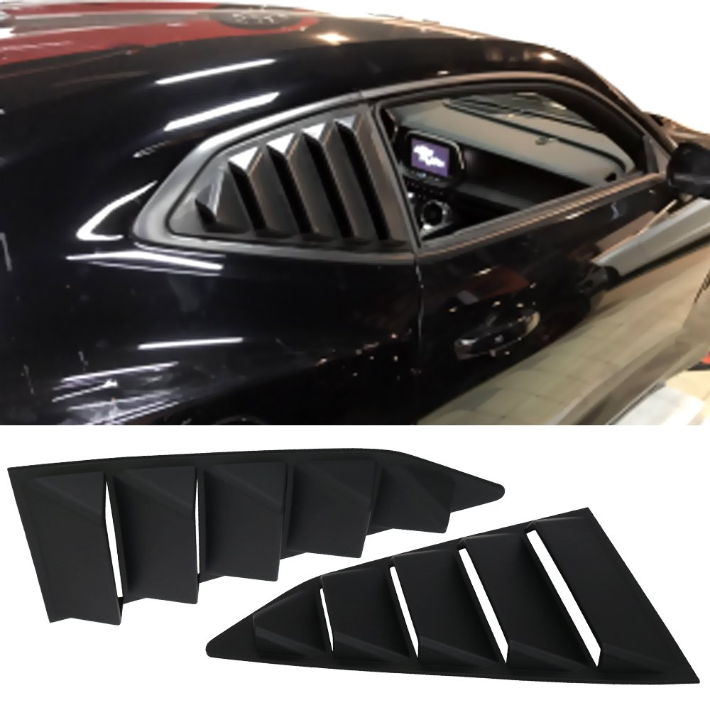 Window Louver Fits 2016-2019 Chevy Camaro | GT-Style ABS Plastic Black Rear Window Visor Guards By IKON MOTORSPORTS | 2017 2018