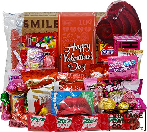 VALENTINES CANDY CARE PACKAGE LOADED GIFT BOX Filled With Valentine Milk Chocolate Hearts, Kisses, Cherry Lips, Seasonal Foil Candies, and More! PERFECT For Girls Boys Kids College Students Adults