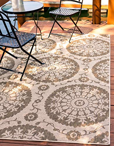 Unique Loom Outdoor Botanical Collection Floral Abstract Transitional Indoor and Outdoor Flatweave Beige Brown Area Rug 3 3 x 5 0