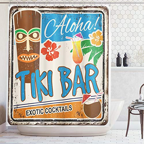Ambesonne Tiki Bar Decor Shower Curtain, Rusty Vintage Sign Aloha Exotic Cocktails Coconut Drink Antique Nostalgic, Fabric Bathroom Decor Set with Hooks, 70 Inches, Blue Brown