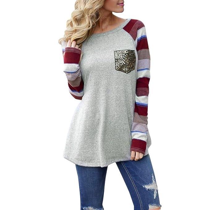 Tefamore Blusa de mujer Camiseta O cuello Sólido manga larga Tops t shirt, Bolsillo de lentejuelas de empalme: Amazon.es: Ropa y accesorios