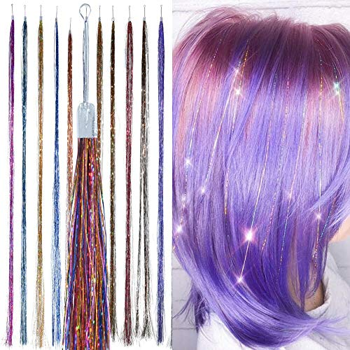 Holographic Hair Tinsel - by Hair Dazzle - Professional Fairy Strands - RAINBOW Color Glitter Hair Extensions For Girls - Heat Resistant & Tangle-proof, Long Lasting Womens Sparkle Hair Accessories