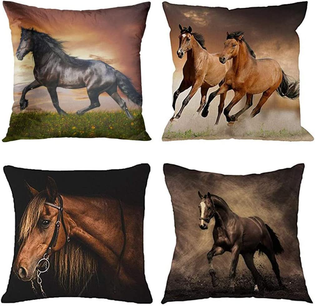 Emvency Set of 4 Throw Pillow Covers Horse Running Waist Horses Armchair Simplin Creative Cartoon Animal Night Decorative Pillow Cases Home Decor Square 18x18 Inches Pillowcases