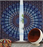 Exclusive Indian Blue Mandala Tapestry Large Wall Hanging Hippie Window Curtain Valances Room Divider 2 Pc Panel Set