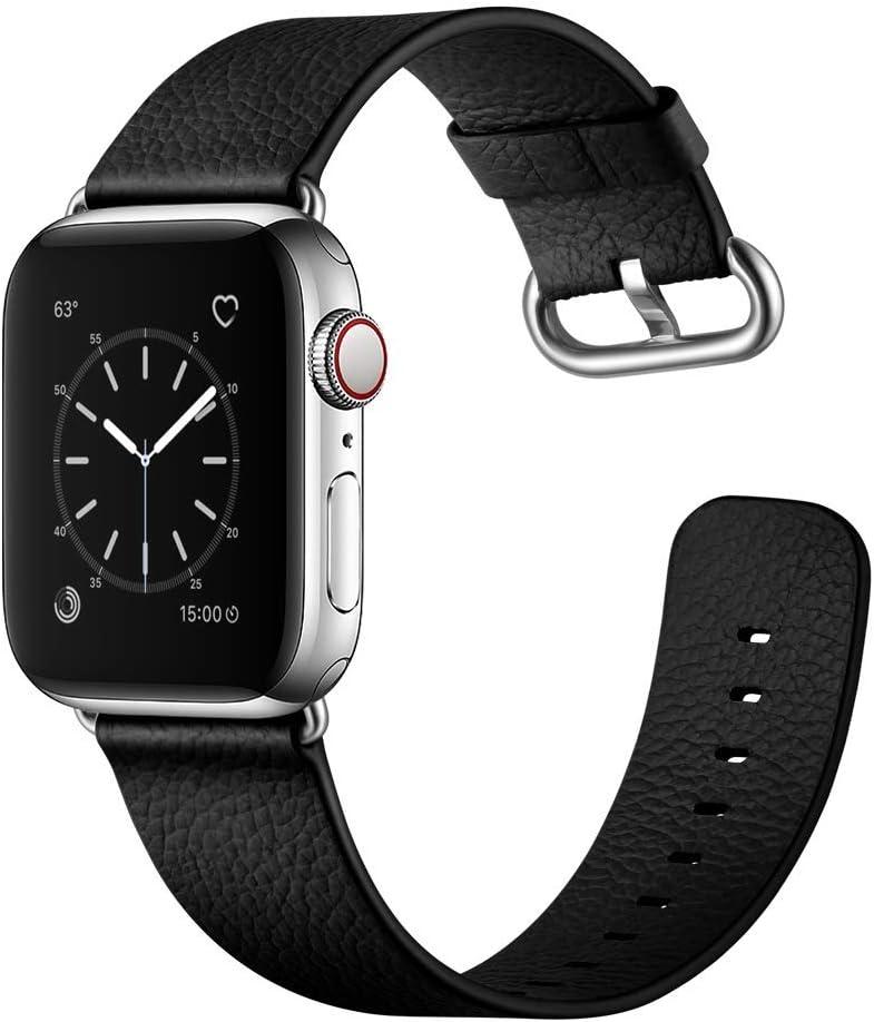 para Apple Watch Strap 44Mm 42Mm 40Mm 38Mm, Cuero Genuino Iwatch Correa Reemplazo De La Correa Pulseras Correa De Reloj para Iwatch Series 5 Series 4 3 2 1 Nike + Hermes & Edition, Azul, 42 Mm / 4
