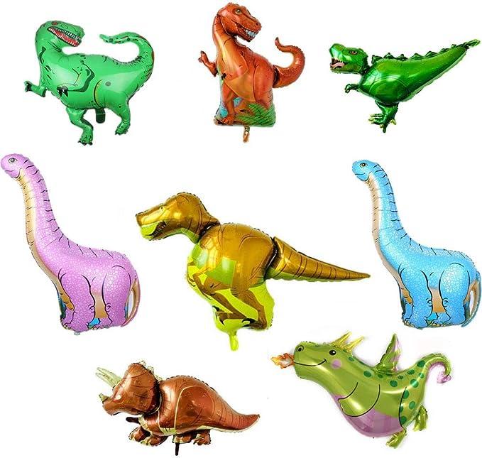 8 Piezas Globos de Dinosaurio Inflables, Decoración de Ramo, Globos de Aluminio Mylar, Globos de Helio Reutilizables, Fiesta de Cumpleaños, Suministros de Decoración de Cumpleaños Para Niños