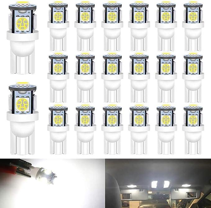 DEFVNSY 20PCS Blanco 194 T10 168 2825 W5W 501 Bombilla de luz LED para Interior de Coche - Chipsets 5050 de Quinta generación 5SMD para 24 V DC Luces de matrícula Luces de Domo de Mapa