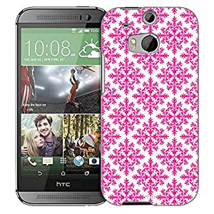 HTC One M8 Case, Slim Fit Snap On Cover by Trek Victorian Seamless Pink on White Trans Case