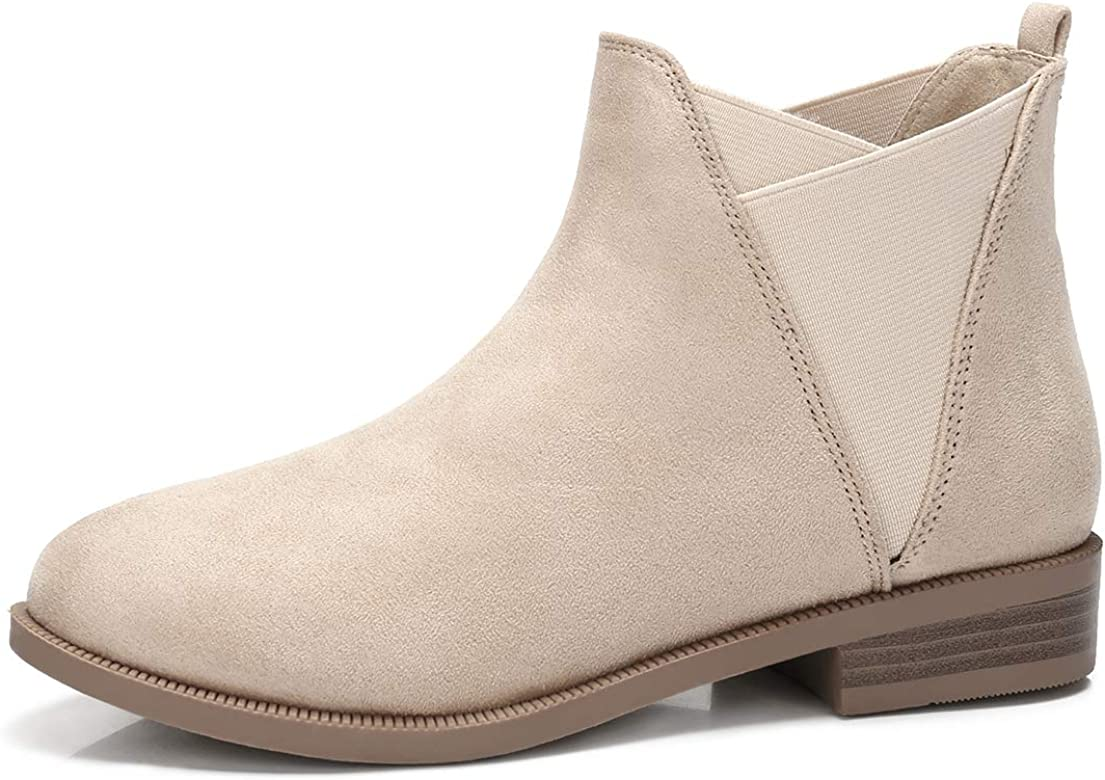 Women's Ankle Boots V Cut Chelsea Boot Classic Bootie Comfort Faux Suede Shoes Stacked Low Block Heel