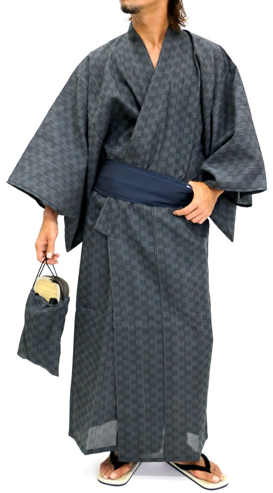 Ponto Men's Yukata Set Kimono with Obi and Setta Spa Robe Japanese (Large, A)