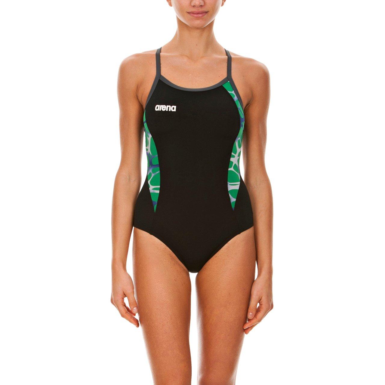 ArenaレディースCarbonite One Piece Swimsuit B00SLYVEMK 28 Black/Asphalt/Kelly Green