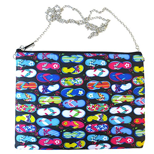 Flip Flop Print Flat Zip Pouch Clutch with Removable Chain Strap by Corona Collection