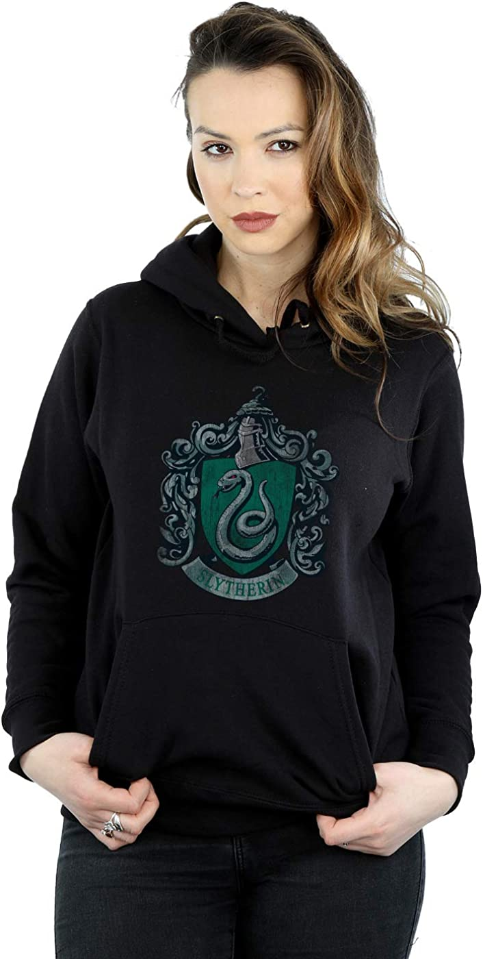 HARRY POTTER Mujer Slytherin Distressed Crest Capucha Medium Negro